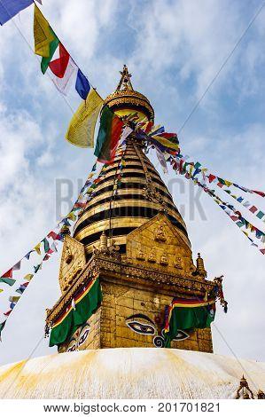 The Stupa Of The Swayambunath Temple, Kathmandu, Nepal