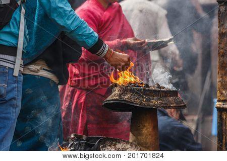 Buddhist religious ceremony at the Swayambu nath Temple Kathmandu Nepal