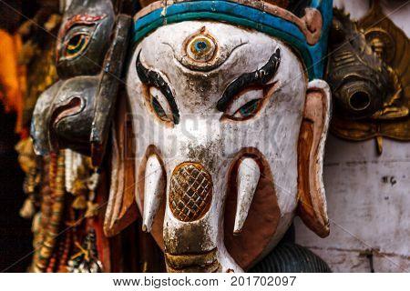 Ganesh Mask At The Swayambunath Temple, Kathmandu, Nepal