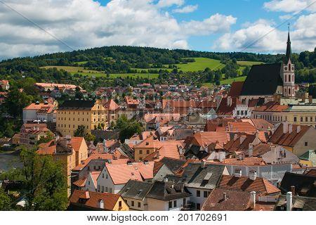 Panoramic view of Cesky Krumlov medieval village