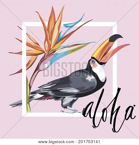 Word- Aloha. Toucan with tropical flowers. Element for design of invitations, movie posters, fabrics and other objects. Isolated on white.