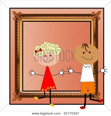 Cartoon charters stepping out of picture frame vector