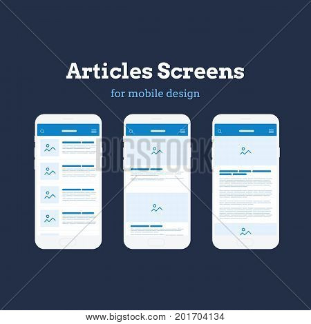 Mobile App Wireframe user interface Kit. Detailed wireframe for quick prototyping. Article news mockup screens.