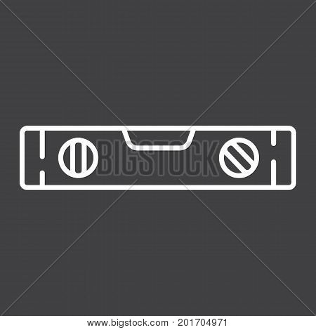 Bubble level tool line icon, build and repair, level ruler sign vector graphics, a linear pattern on a black background, eps 10.