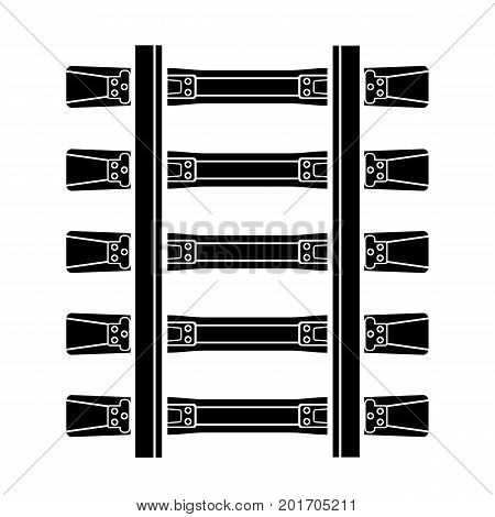 Railway detailed track road concrete steel isolated top view rails simple style. Seamless Vector illustration symbol for web polygraphy site design or button.