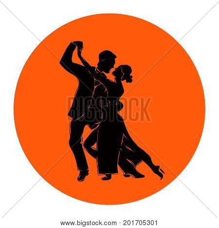 Salsa or argentine tango dancing couple man and woman in vector. International tango day. Vector illustration in circle, banner, icon, sign