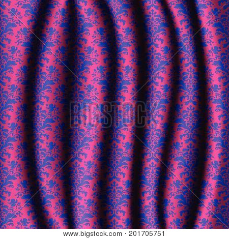 Realistic Pink Stage Curtains With Damask Pattern.