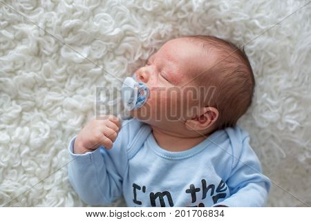 Little Newborn Baby Sleeping, Baby With Scin Rash