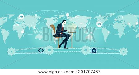 Businessmen working on the computer and sitting on the chain powered by gears. World map and many business and communication icons at the background. Concept illustration