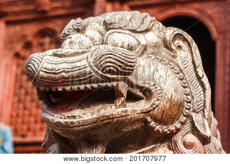 Statue And Decorations Of The Temples In Durbar Square, Kathmandu, Nepal