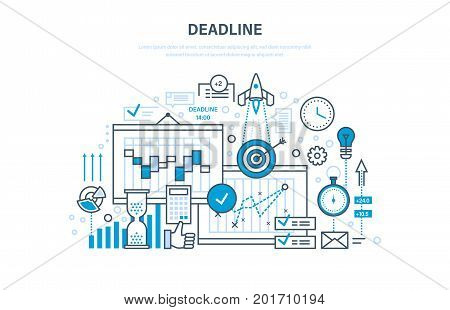 Deadline, project management, planning, implementation deadlines and time management, process control. Calculation and analysis, marketing, statistic. Illustration thin line design of vector doodles.