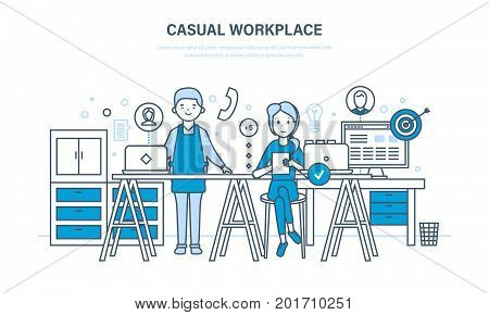 Casual workplace. Interior of room, furniture, appliances. Colleagues, communications, teamwork. Partnership, business meetings. Workflow office room Illustration thin line design of vector doodles