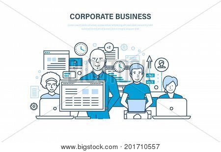 Corporate business concept. Business team, cooperation, collaboration, partnerships, teamwork, integrated approach to discussion of issues. Illustration thin line design of vector doodles.