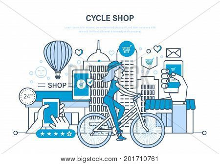 Cycle shop concept. Process of purchasing goods from the selection, evaluation, ordering, payment, delivery and rating of the goods. Illustration thin line design of vector doodles.