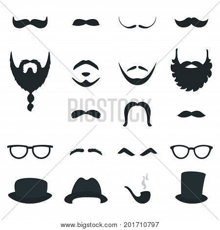 Mens Beard and Moustache Styles Props. Vector Design.