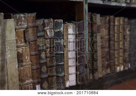 Historical books from the 16th century in the Joanina Library in Coimbra Portugal