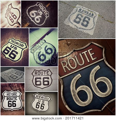 A Historic U.S. old Route 66 signs.