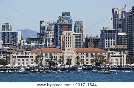 SAN DIEGO, CALIFORNIA, JUNE 13: The San Diego City and County Administration Building on June 13, 2017, in San Diego, California. A San Diego City and County Administration Building in San Diego in California.