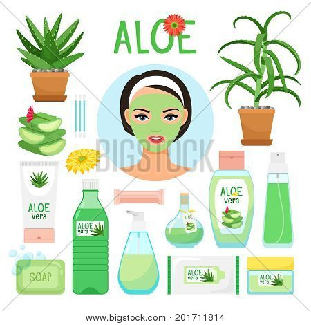 Aloe vera cosmetic products. Aloe fresh juice, leaf and flowers, collagen mask, spa gel and wet beauty cream cosmetology vector icons