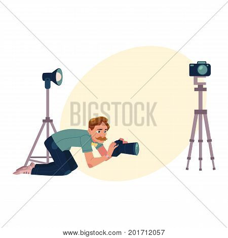 Photographer taking pictures, shooting from low angle, kneeling, cartoon vector illustration with space for text. Professional photographer, photo journalist, reporter crunching, kneeling on ground