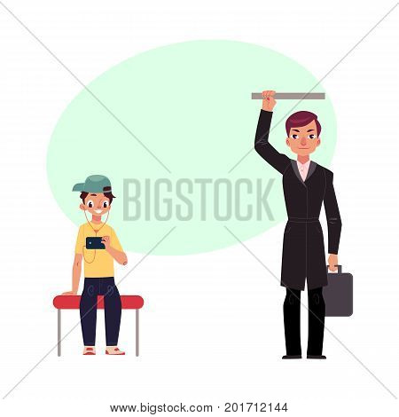 Businessman holding briefcase in subway, standing and holding handrail, young boy sits staring at phone, studen cartoon vector illustration with space for text.