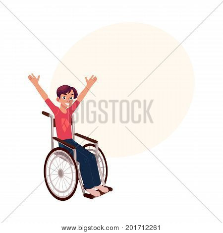 Young man sitting in wheelchair, raising hands in happiness, rehabilitation concept, cartoon vector illustration with space for text. Happy smiling young man in wheelchair