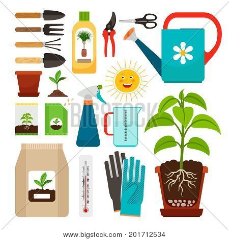 Care of houseplants and indoor gardening icons. Fertilization and watering, flowerpot with soil and sunlight, seedling cultivation isolated on white background. Vector illustration
