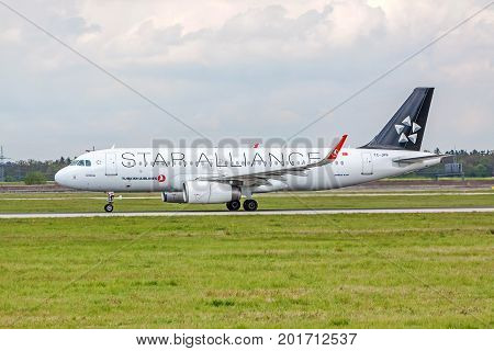 Airplane From Turkish Airlines Before Take Off, Airport Stuttgart, Germany