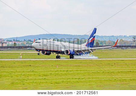 Airplane Touchdown: Aeroflott Boeing 737 Landing, Airport Stuttgart, Germany