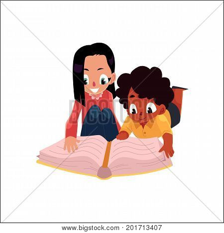 Two kids, girls reading an interesting book lying on the floor, cartoon vector illustration isolated on white background. Two kids, girls, black and Caucasian, reading a book, lying on the floor