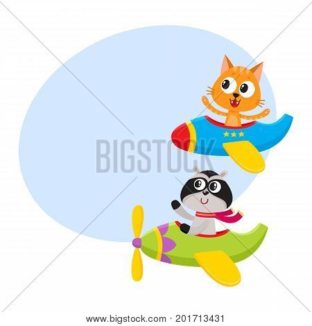 Cute funny animal pilot characters flying on airplane - cat and raccoon, cartoon vector illustration with space for text. Little baby cat and raccoon characters flying on airplane