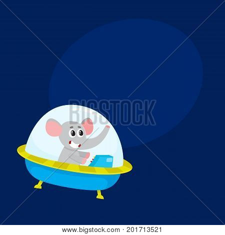 Cute elephant animal astronaut, spaceman character flying in spaceship, spacecraft, cartoon vector illustration with space for text. Funny elephant astronaut, spaceman in flying in spaceship