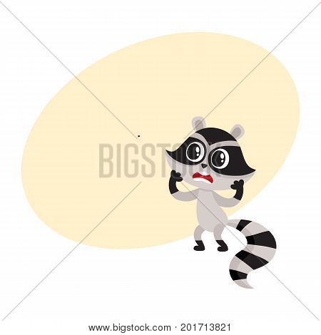 Cute raccoon character unpleasantly surprised, shocked, showing disbelief, cartoon vector illustration with space for text. Little raccoon holding head in paws from disbelief, feeling shock