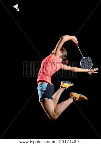 Young woman badminton player (version with shuttlecock)