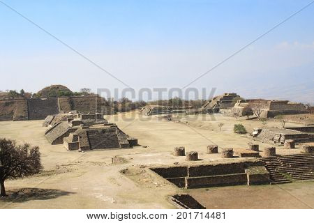 Top view on ruins of Mayan pyramids in sacred site Monte Alban, Oaxaca, Mexico, North America. UNESCO world heritage site