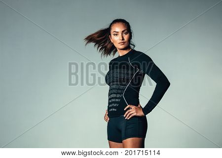 Fitness Woman In Long Sleeve T-shirt