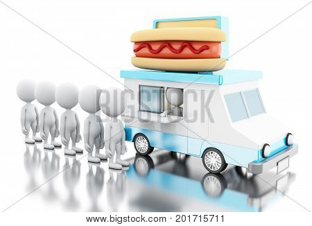 3D Hot Dog Food Truck With White People Waiting In Line.