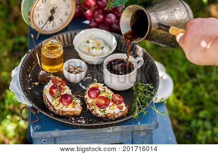Grape Bruschetta Served For Breakfast