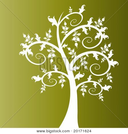 funky coil tree  with leaves and berries vector
