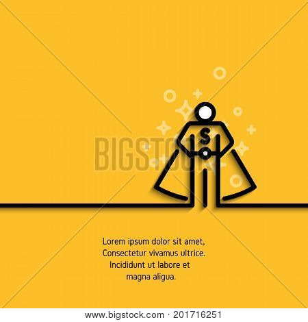 Line icon of online consultant. Personal assistant, superhero, person who can help concept banner. Vector illustration on yellow background. Contour graphic image