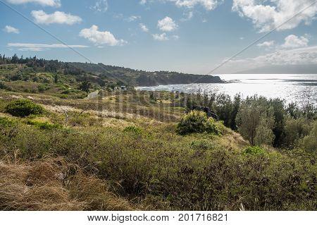 A view of the shoreline on the coast on Northwest Maui Hawaii.