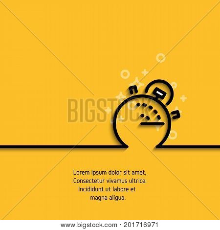 Banner with clock, alarm or chronometer icon in linear design. Business concept contour label symbolizing accuracy, deadline, punctuality. Vector illustration on yellow background
