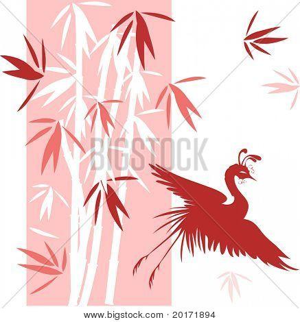 bamboo with bird vector