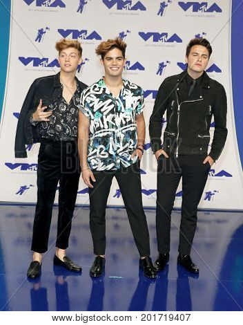Emery Kelly, Ricky Garcia and Liam Attridge of Forever in Your Mind at the 2017 MTV Video Music Awards held at the Forum in Inglewood, USA on August 27, 2017.