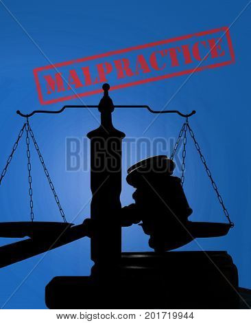 Court gavel and scales with Malpractice stamp