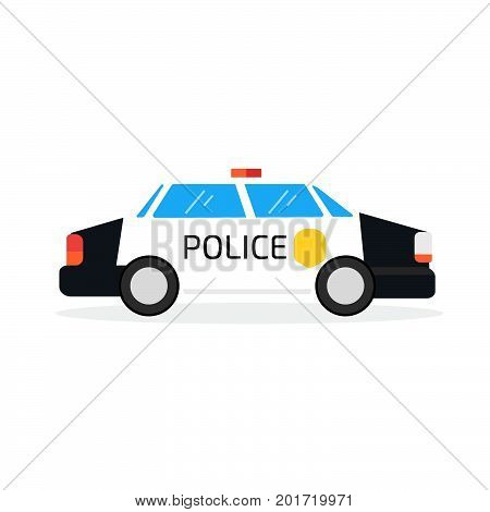 police car, sign, security, patrol. Vector illustration