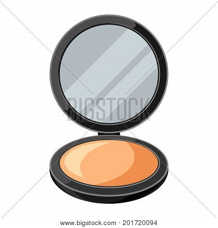 Open powder compact or make up. Illustration of object on white background in flat design style.