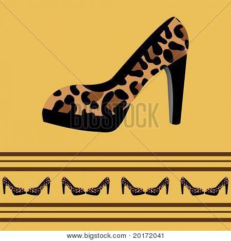 leopard shoe collection vector