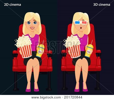 Woman sitting in the cinema and watching a movie 2D and 3D cinema. Colorful vector illustration flat style
