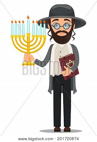 Rosh Hashanah. Jew man in traditional clothes holding bible and menorah. Cartoon character in glasses. Vector illustration.